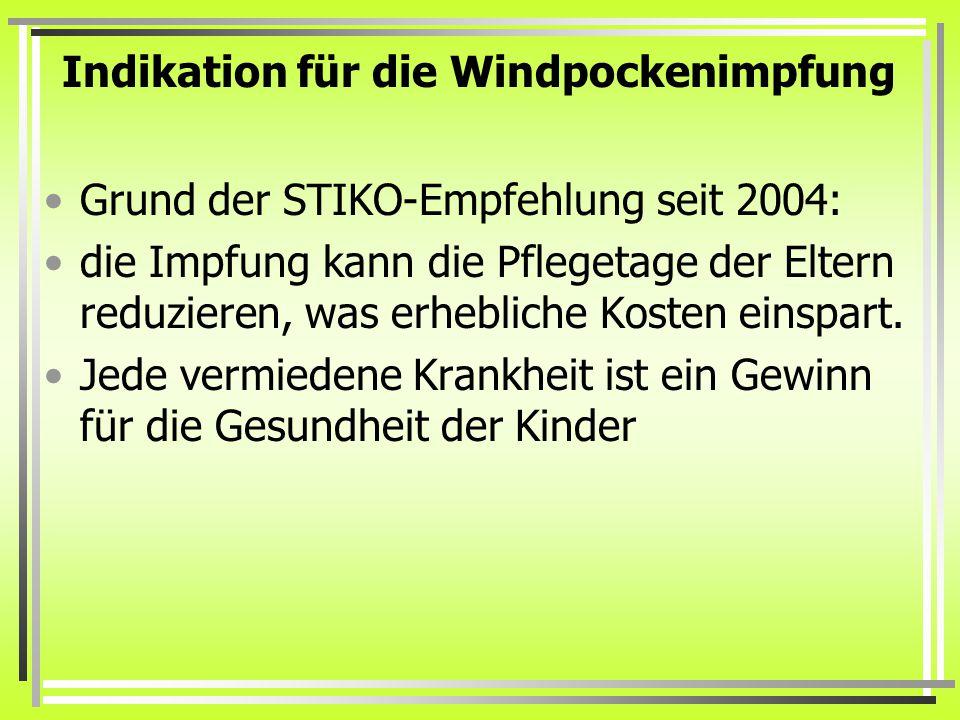 Indikation für die Windpockenimpfung
