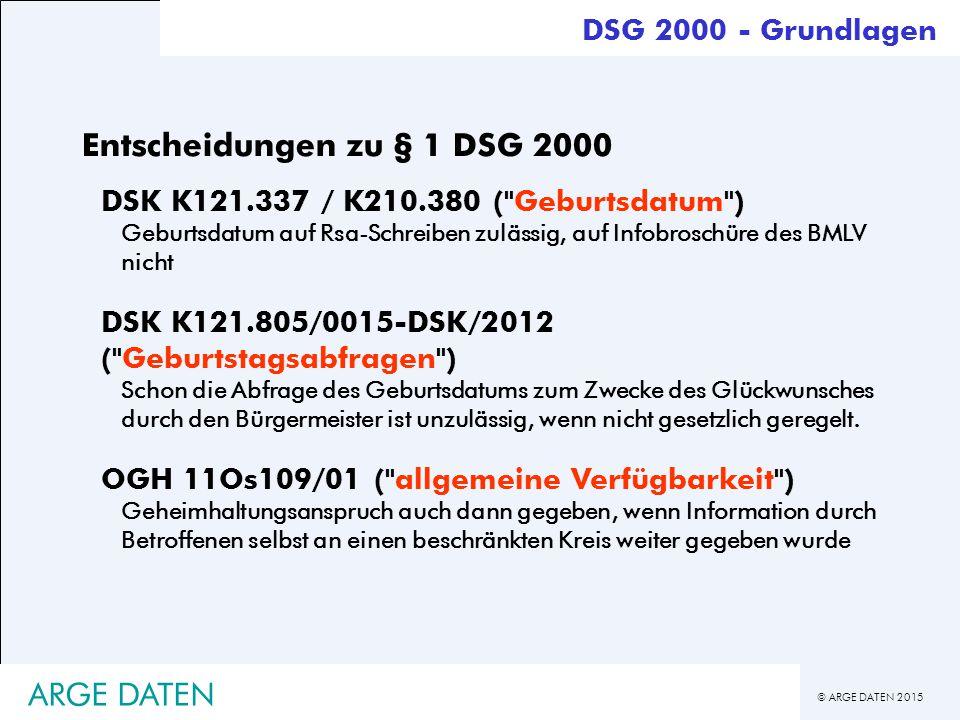 Entscheidungen zu § 1 DSG 2000
