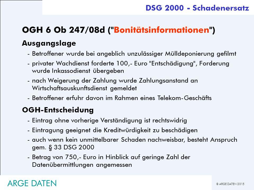 OGH 6 Ob 247/08d ( Bonitätsinformationen )