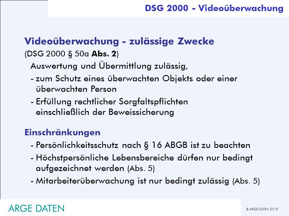 Videoüberwachung - zulässige Zwecke