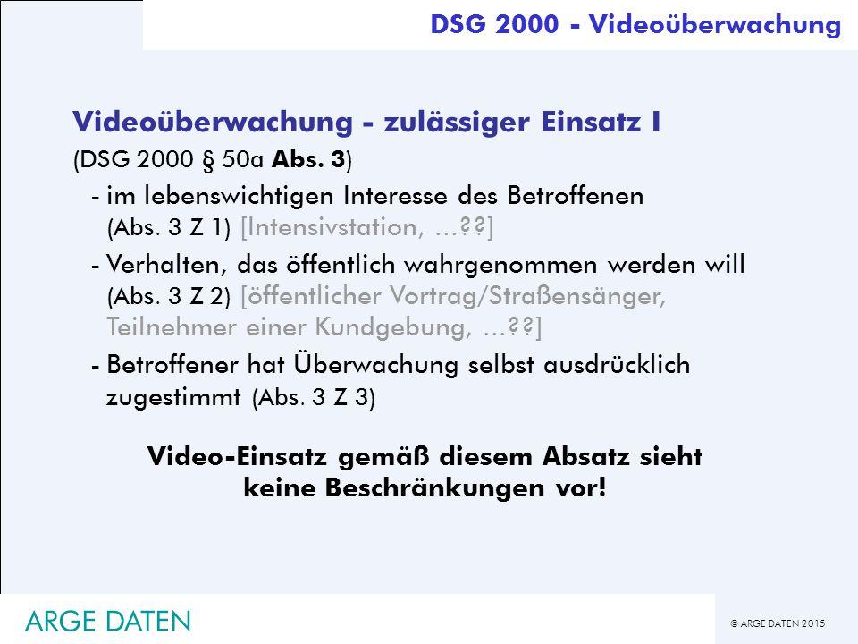 Video-Einsatz gemäß diesem Absatz sieht keine Beschränkungen vor!