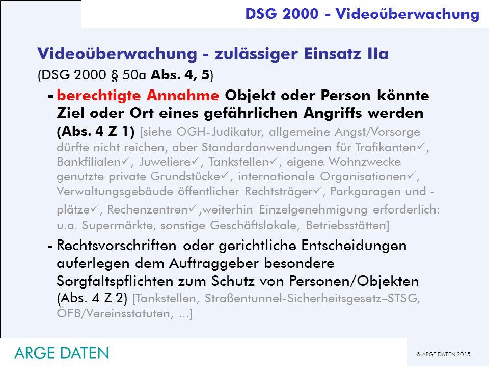 Videoüberwachung - zulässiger Einsatz IIa
