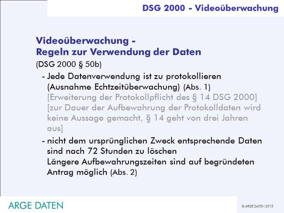 Videoüberwachung - Regeln zur Verwendung der Daten