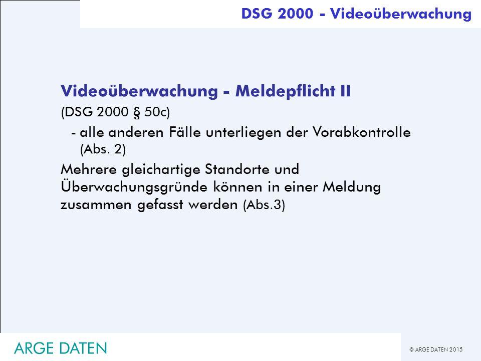 Videoüberwachung - Meldepflicht II