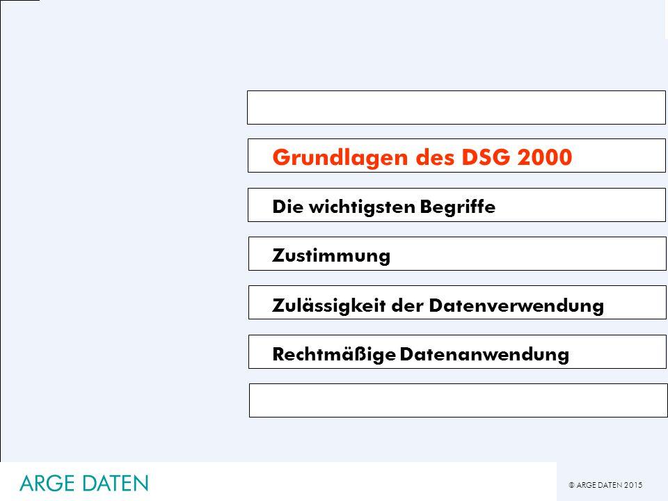 Grundlagen des DSG 2000 ARGE DATEN Die wichtigsten Begriffe Zustimmung