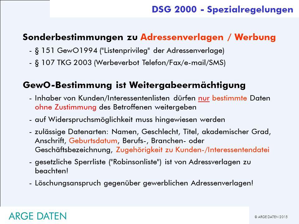 ARGE DATEN DSG 2000 - Spezialregelungen