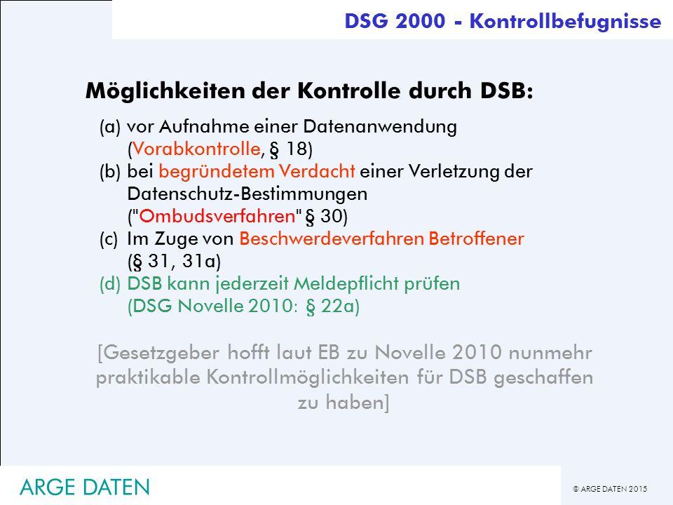 Möglichkeiten der Kontrolle durch DSB: