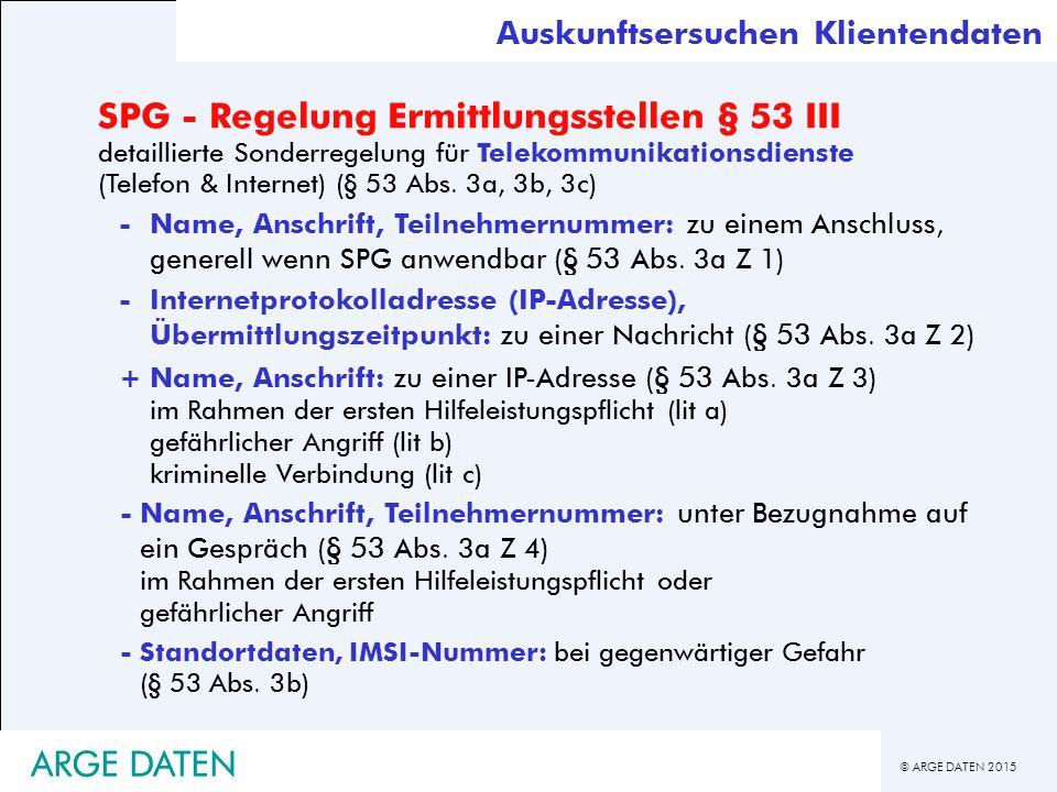 SPG - Regelung Ermittlungsstellen § 53 III