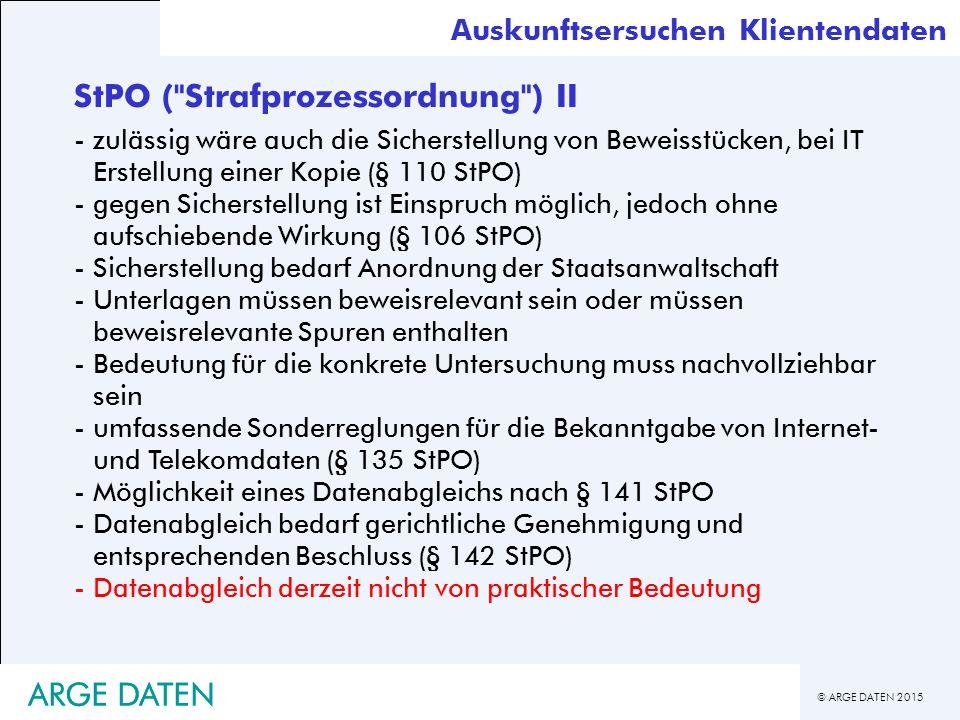 StPO ( Strafprozessordnung ) II