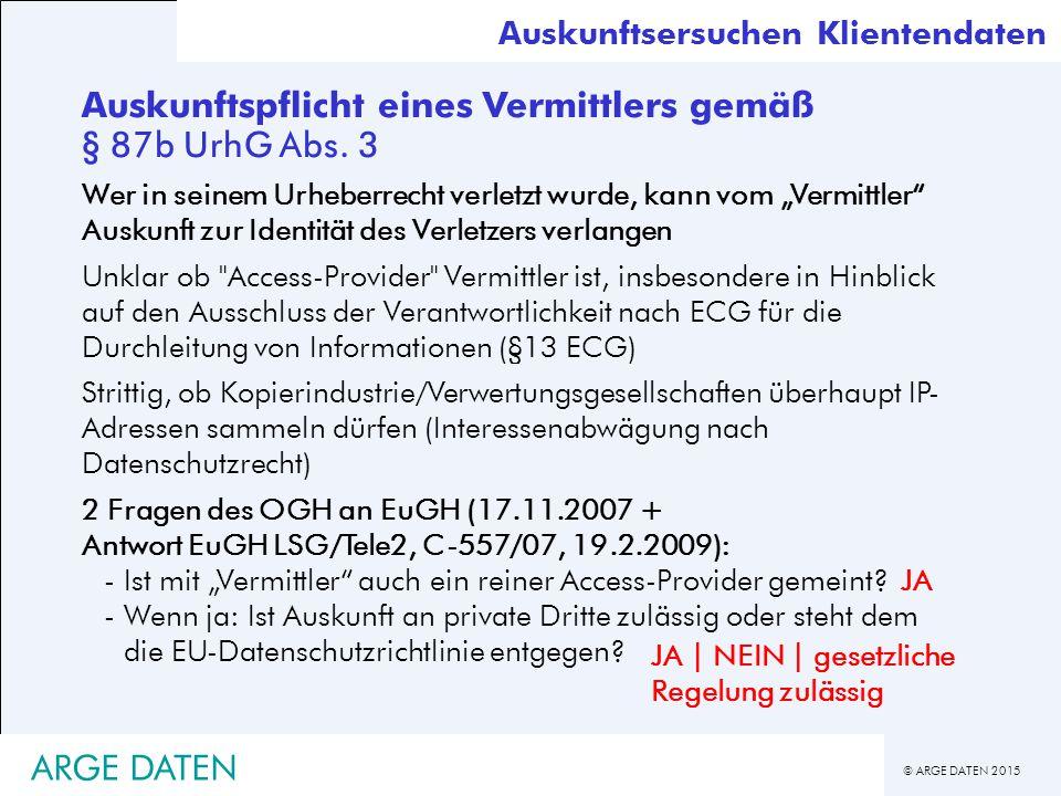 Auskunftspflicht eines Vermittlers gemäß § 87b UrhG Abs. 3