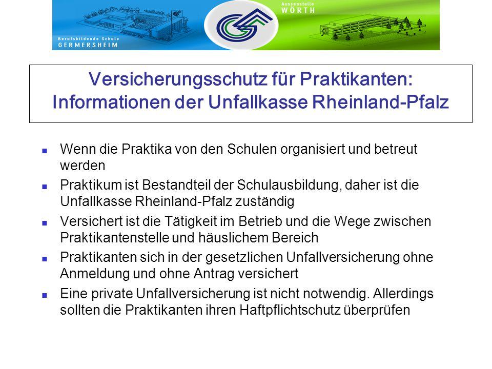 Versicherungsschutz für Praktikanten: Informationen der Unfallkasse Rheinland-Pfalz