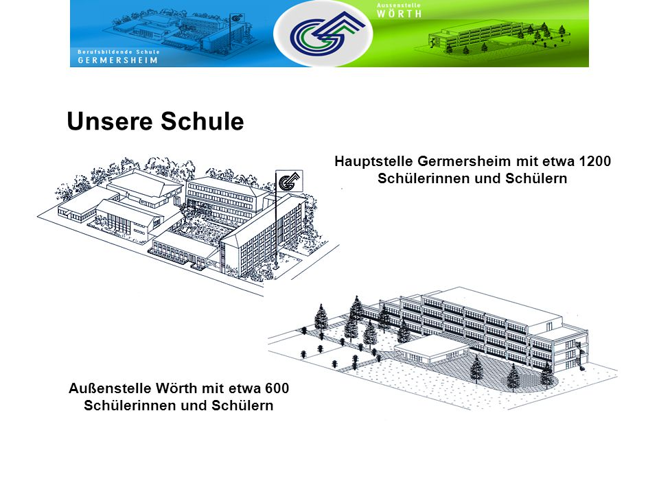 Unsere Schule Hauptstelle Germersheim mit etwa 1200 Schülerinnen und Schülern.