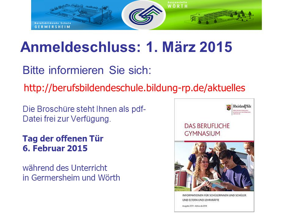 Anmeldeschluss: 1. März 2015