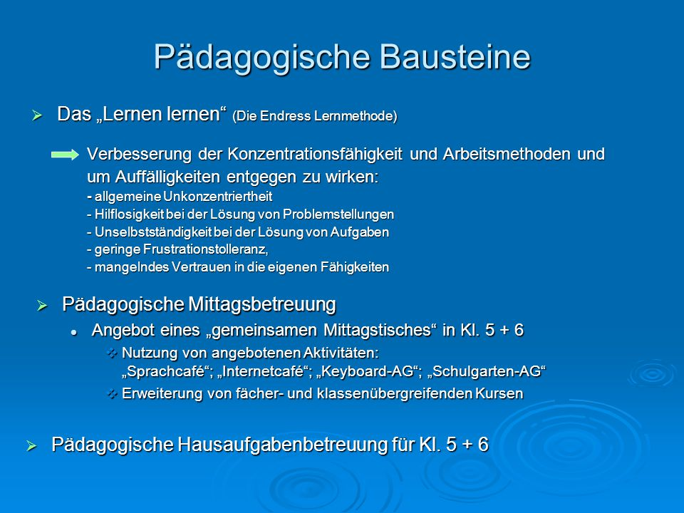 Pädagogische Bausteine