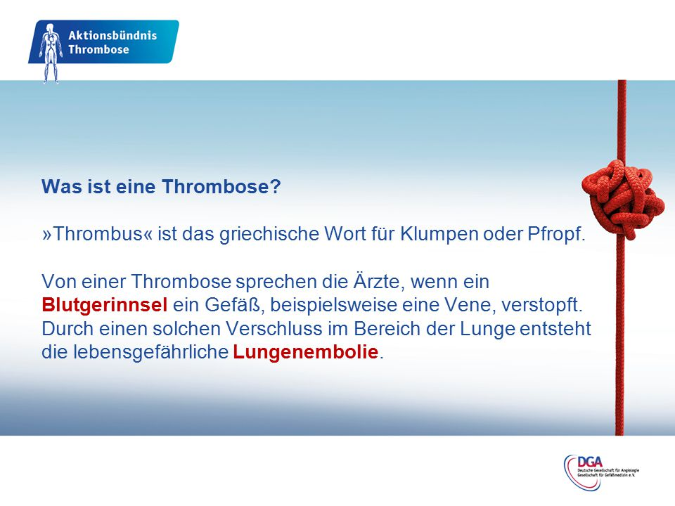 Was ist eine Thrombose. »Thrombus« ist das griechische Wort für Klumpen oder Pfropf.
