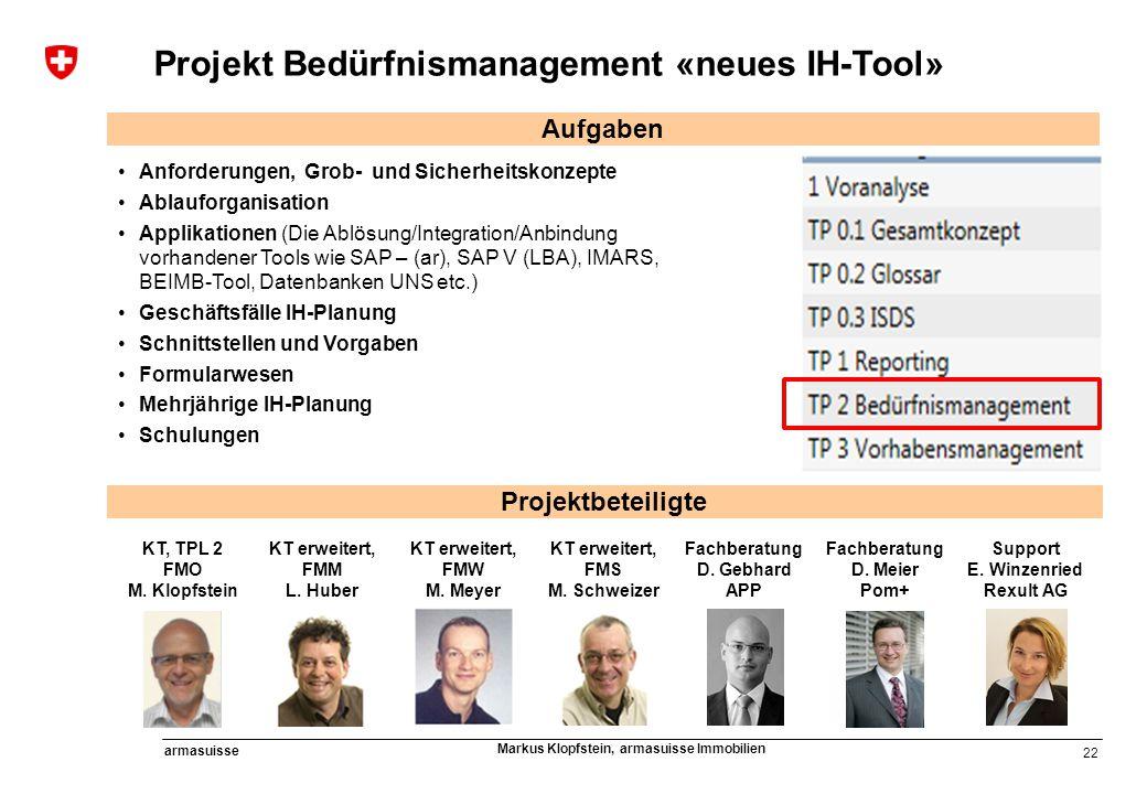 Projekt Bedürfnismanagement «neues IH-Tool»