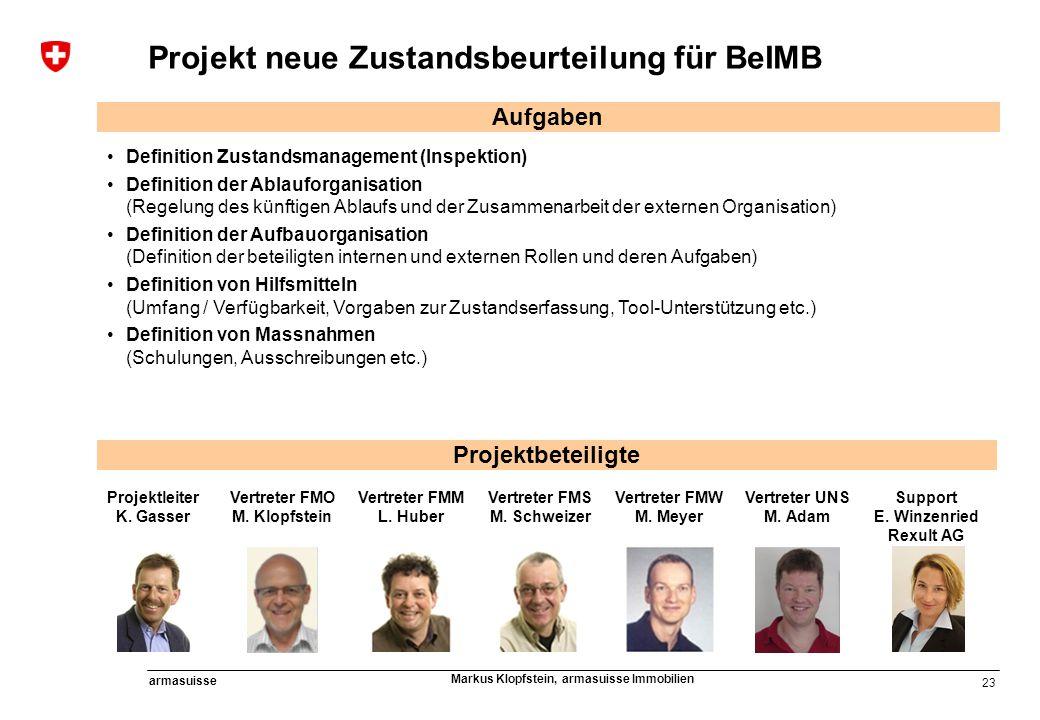 Projekt neue Zustandsbeurteilung für BeIMB