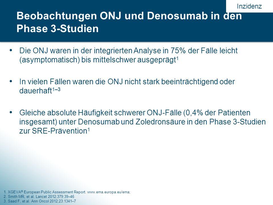Beobachtungen ONJ und Denosumab in den Phase 3-Studien