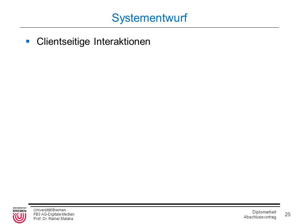 Systementwurf Clientseitige Interaktionen