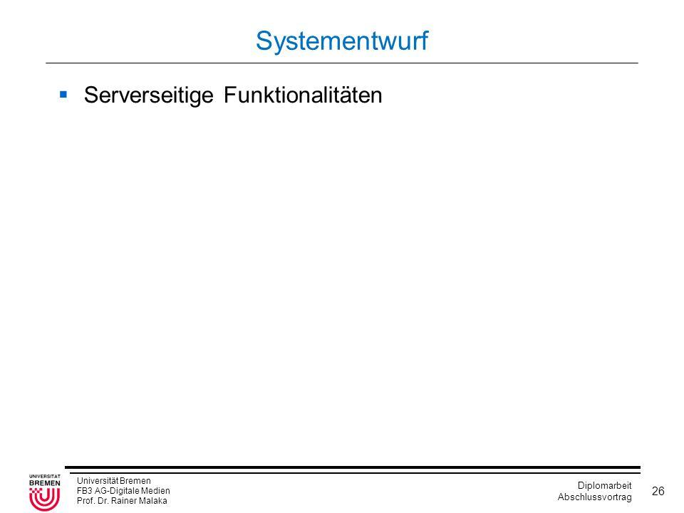 Systementwurf Serverseitige Funktionalitäten