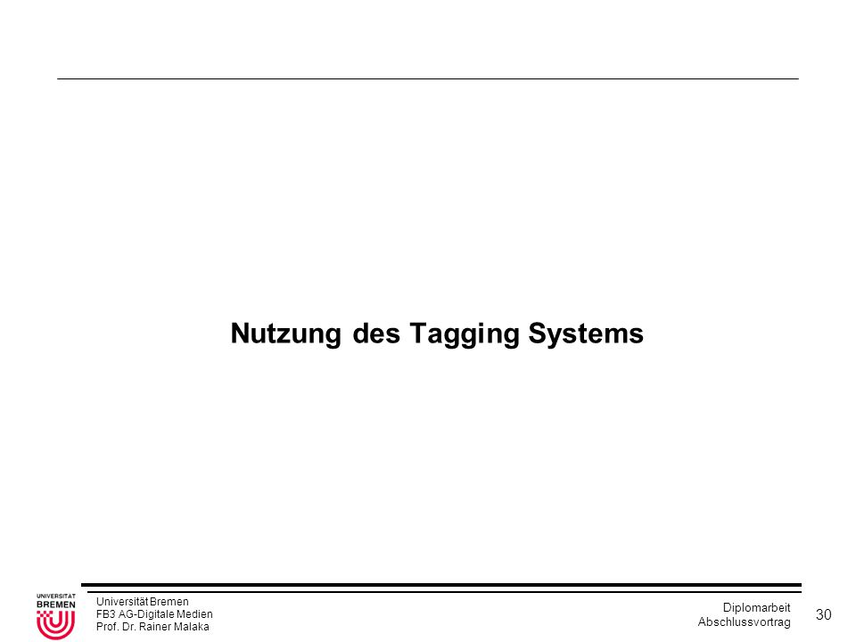 Nutzung des Tagging Systems