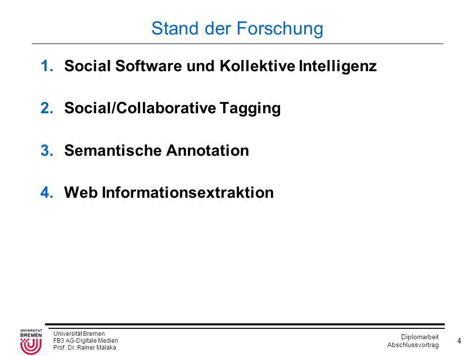 Stand der Forschung Social Software und Kollektive Intelligenz