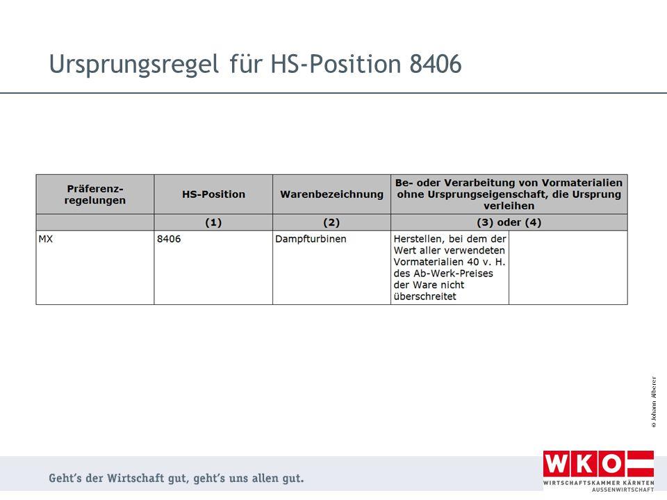 Ursprungsregel für HS-Position 8406