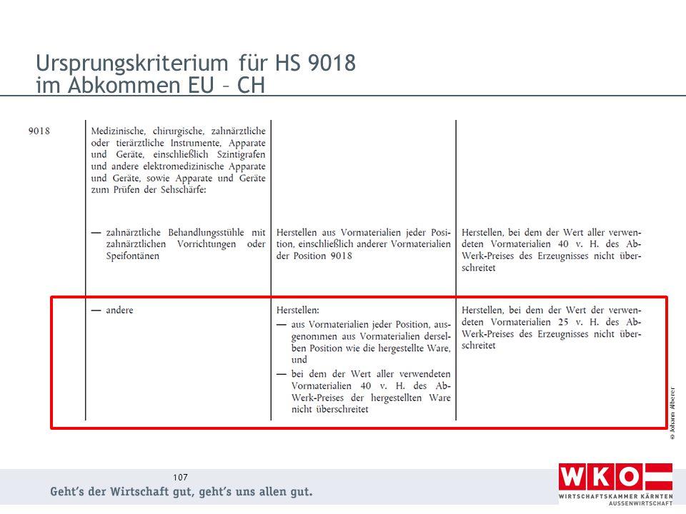 Ursprungskriterium für HS 9018 im Abkommen EU – CH