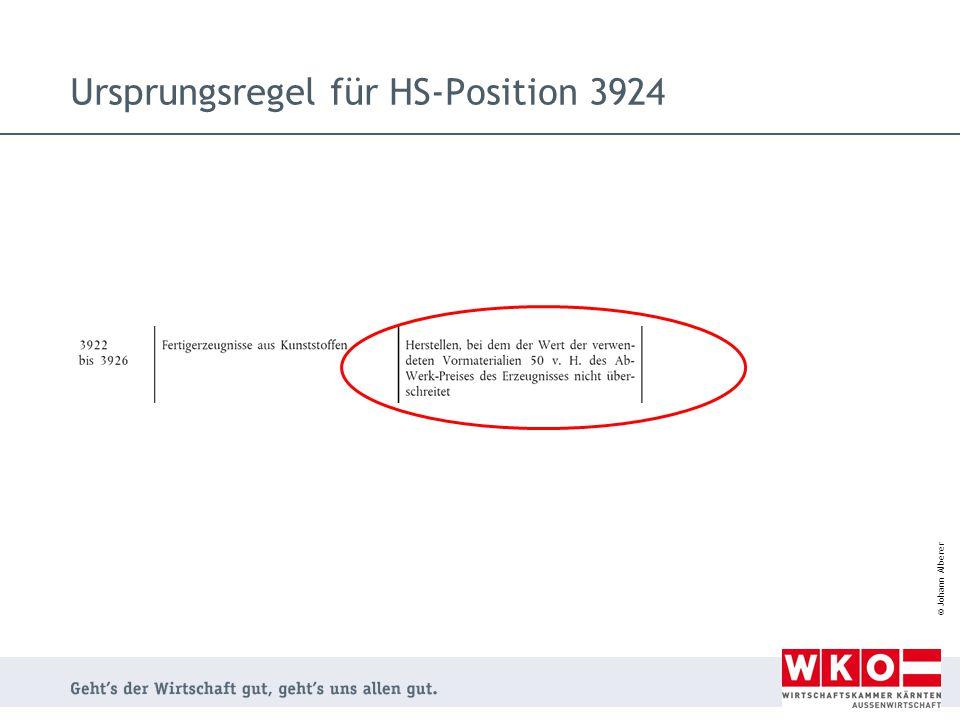 Ursprungsregel für HS-Position 3924