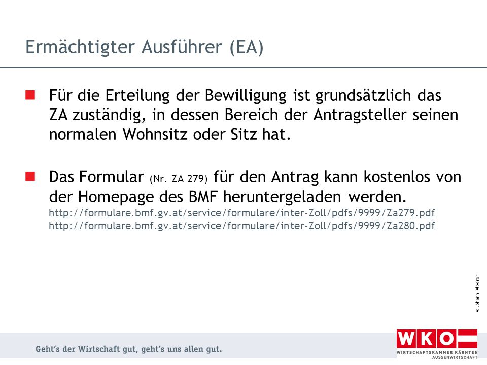 Ermächtigter Ausführer (EA)