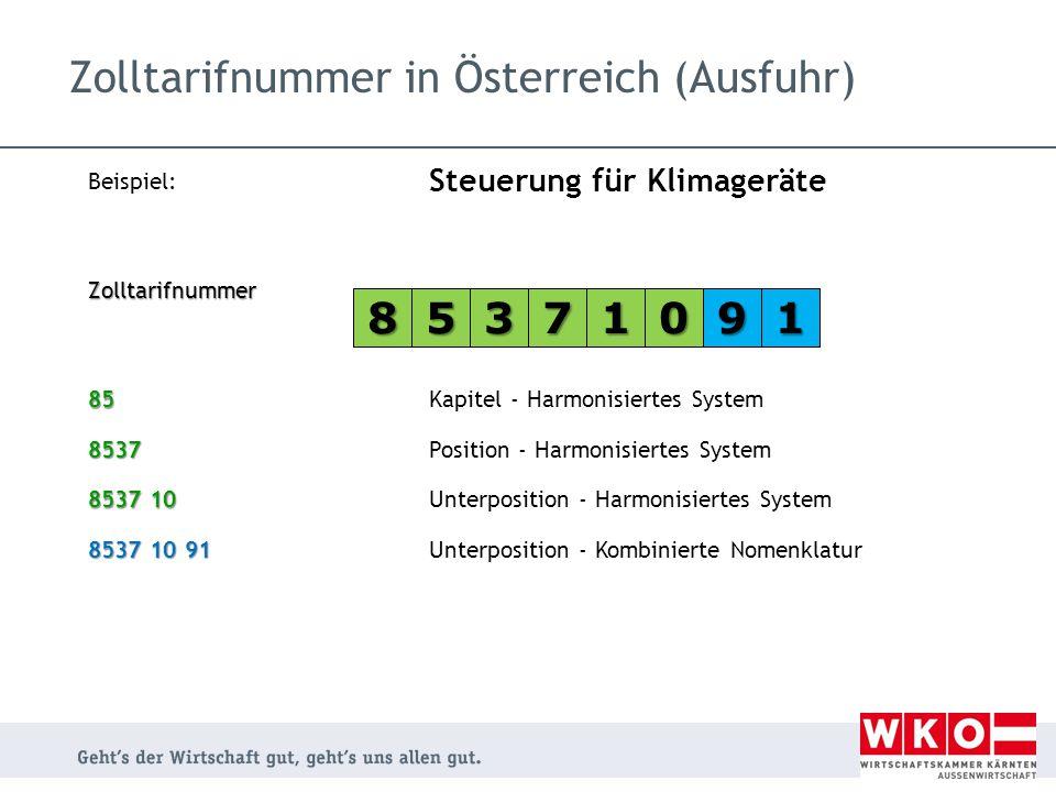 Zolltarifnummer in Österreich (Ausfuhr)