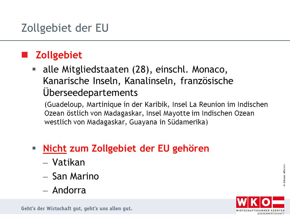 Zollgebiet der EU Zollgebiet