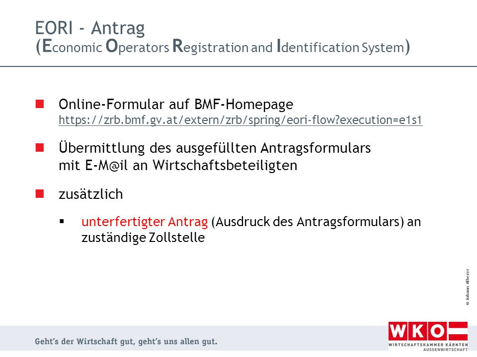 EORI - Antrag (Economic Operators Registration and Identification System)