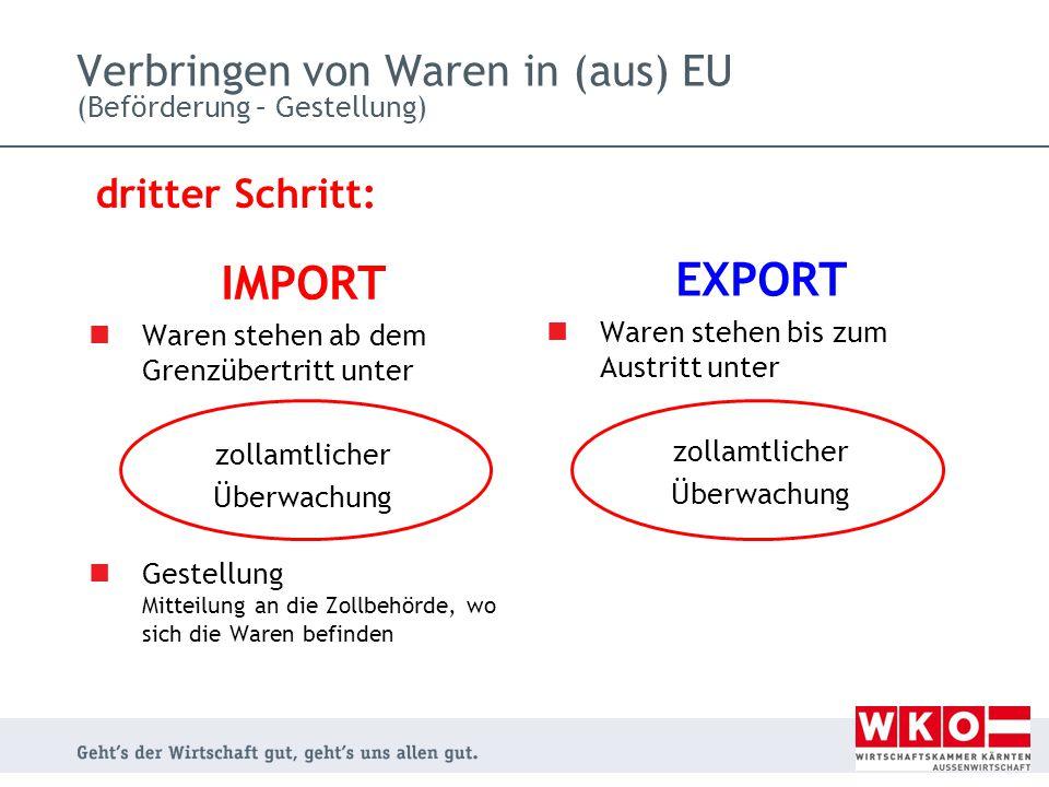 Verbringen von Waren in (aus) EU (Beförderung – Gestellung)