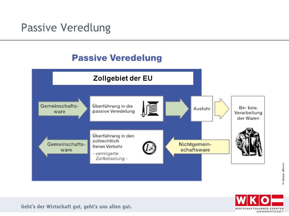 Passive Veredlung Zollgebiet der EU