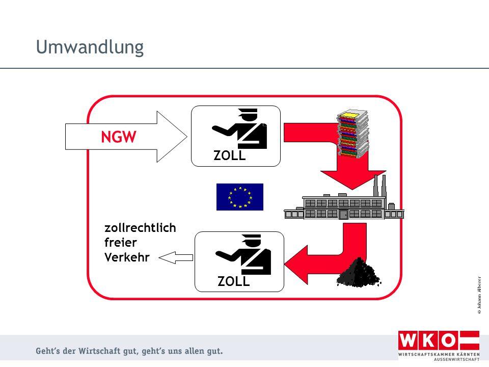 Umwandlung NGW ZOLL zollrechtlich freier Verkehr