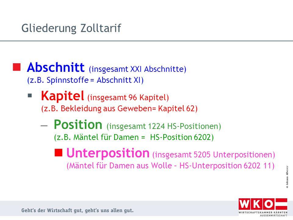 Abschnitt (insgesamt XXI Abschnitte) (z.B. Spinnstoffe = Abschnitt XI)