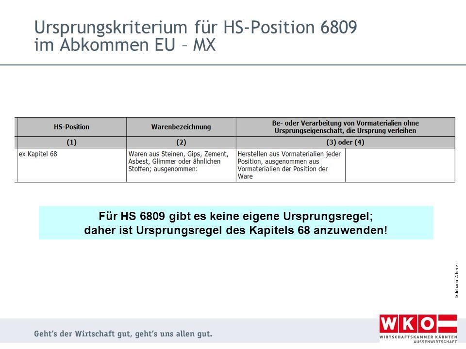 Ursprungskriterium für HS-Position 6809 im Abkommen EU – MX