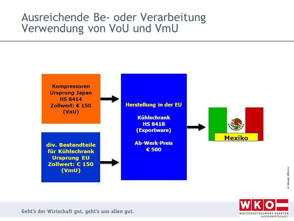 Ausreichende Be- oder Verarbeitung Verwendung von VoU und VmU