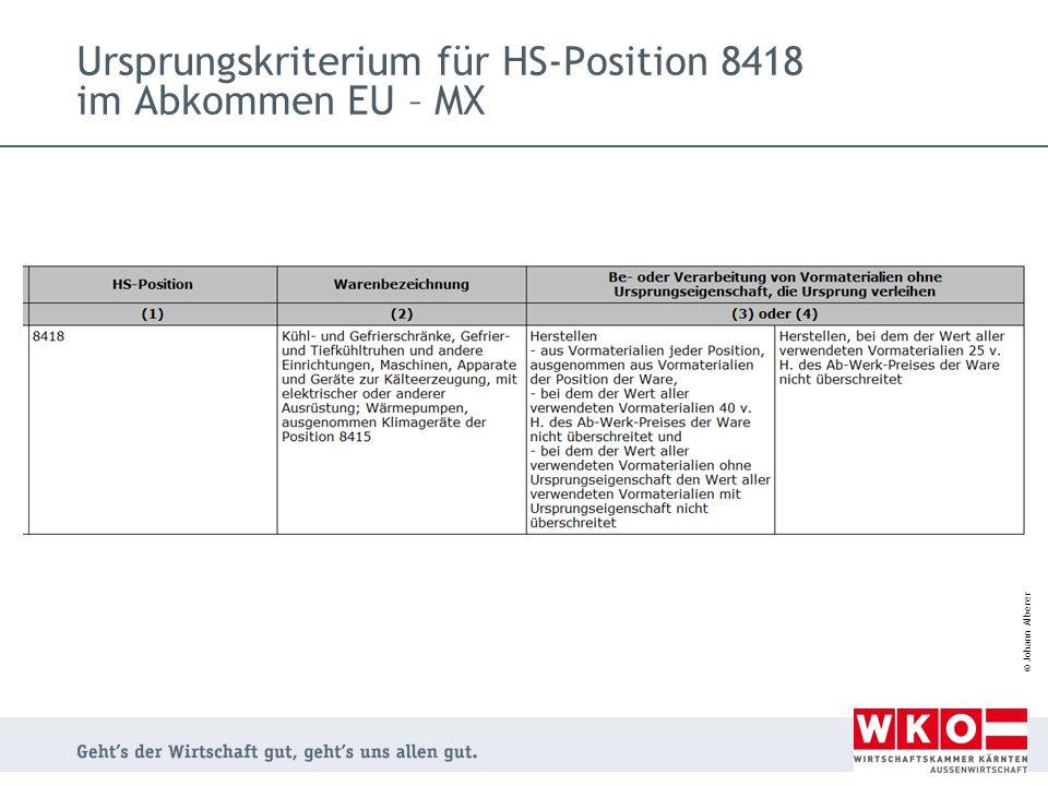 Ursprungskriterium für HS-Position 8418 im Abkommen EU – MX