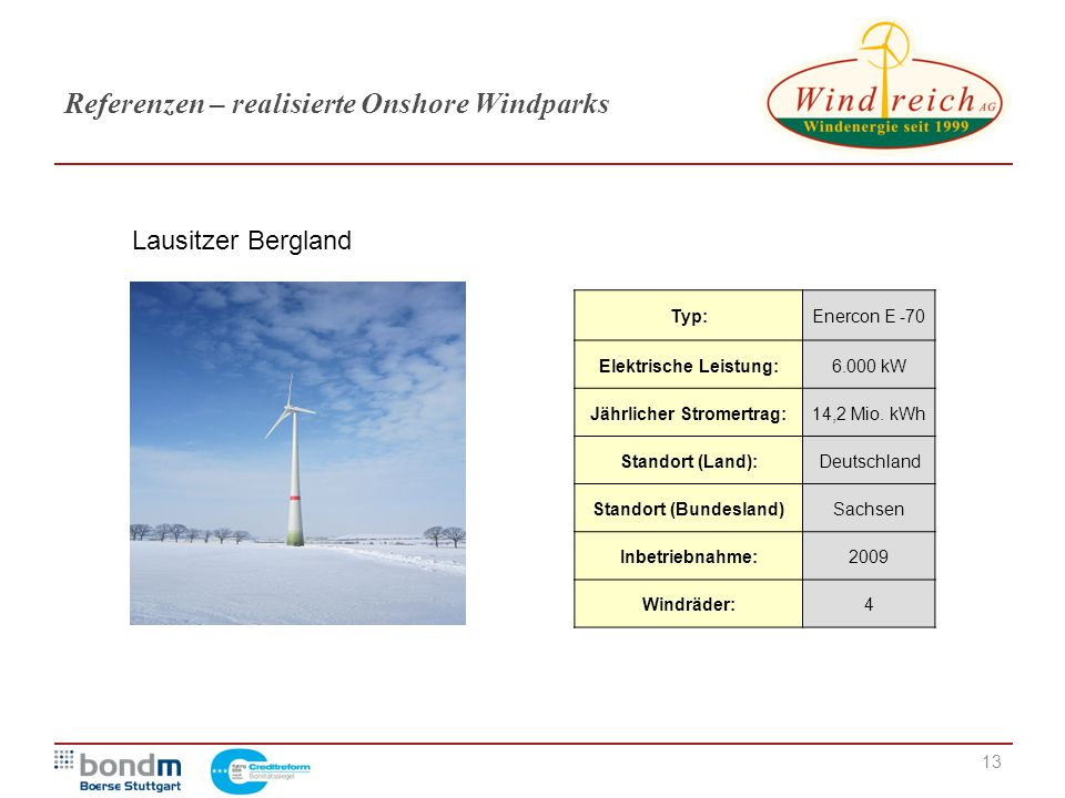 Referenzen – realisierte Onshore Windparks