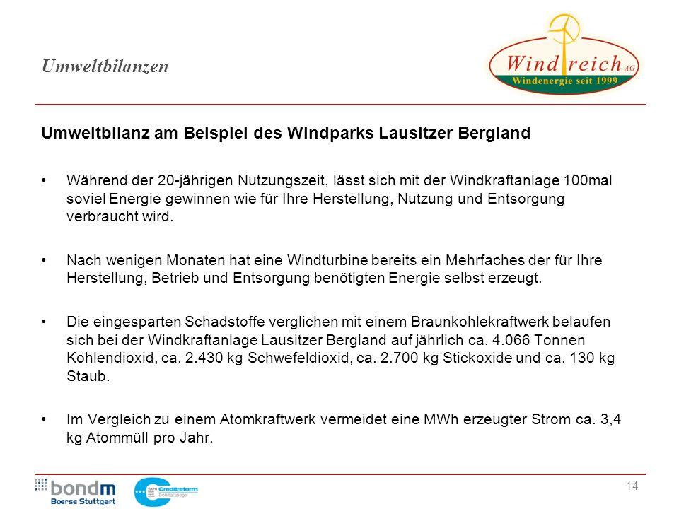 Umweltbilanzen Umweltbilanz am Beispiel des Windparks Lausitzer Bergland.