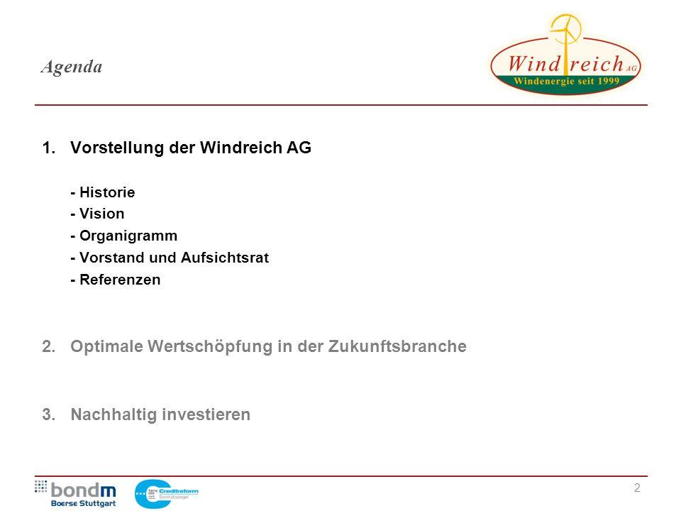 Agenda Vorstellung der Windreich AG