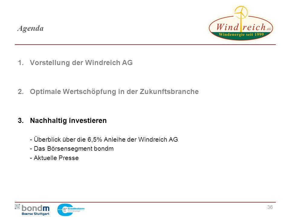 Agenda 1. Vorstellung der Windreich AG