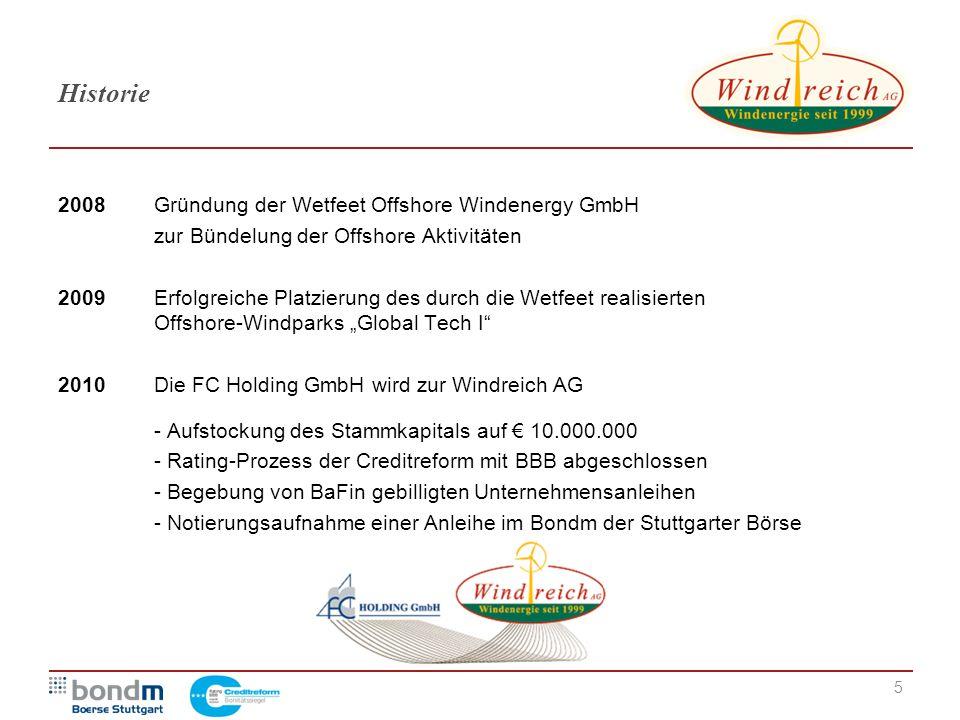 Historie 2008 Gründung der Wetfeet Offshore Windenergy GmbH