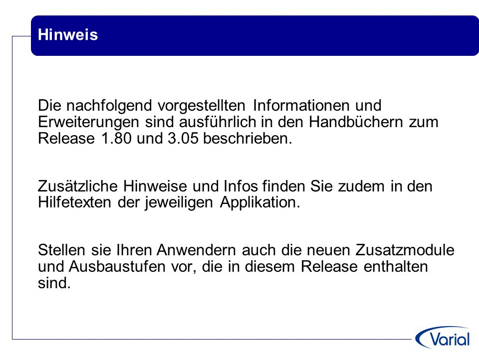 Varial Releaseworkshop Finanzwesen VWE 1.80 Guide ppt video online ...