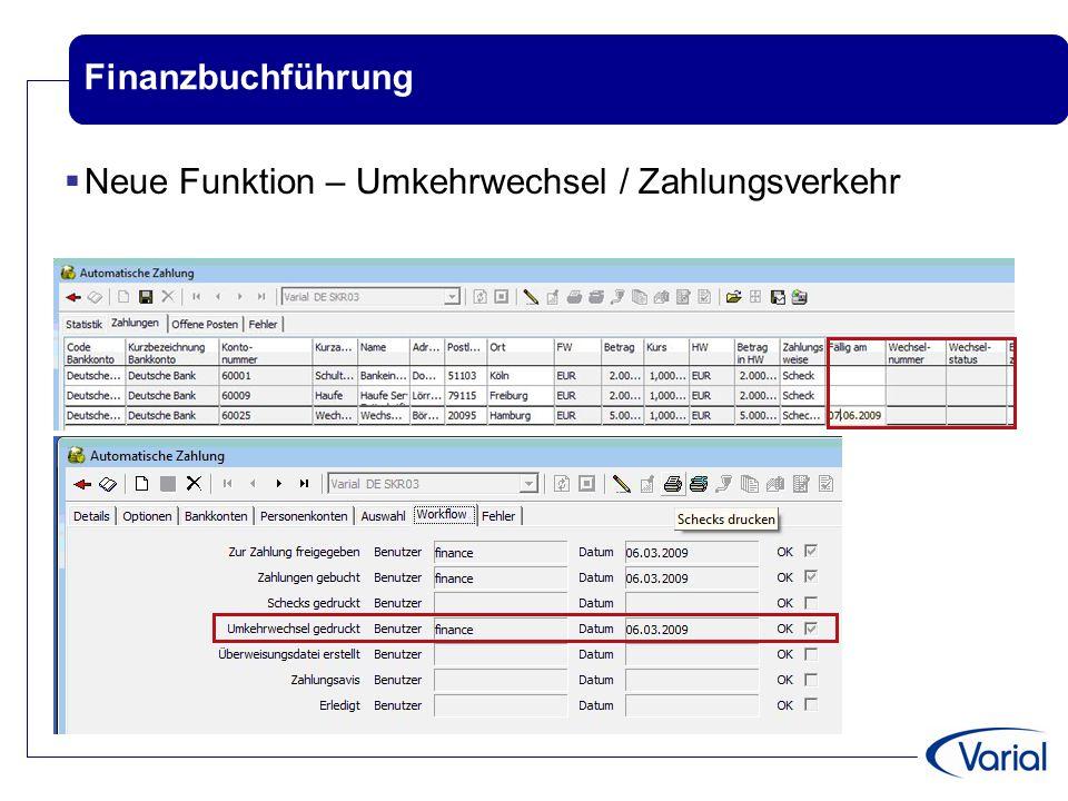 Finanzbuchführung Neue Funktion – Umkehrwechsel / Zahlungsverkehr