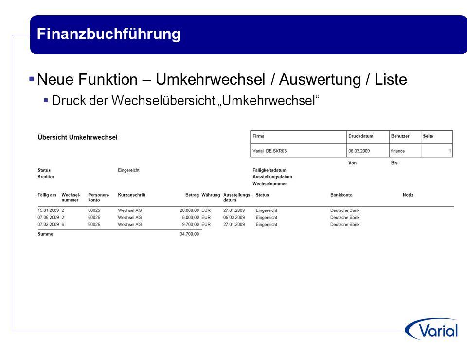 Neue Funktion – Umkehrwechsel / Auswertung / Liste