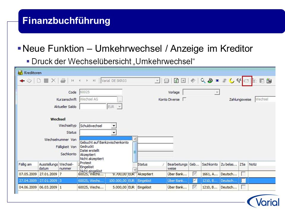 Neue Funktion – Umkehrwechsel / Anzeige im Kreditor