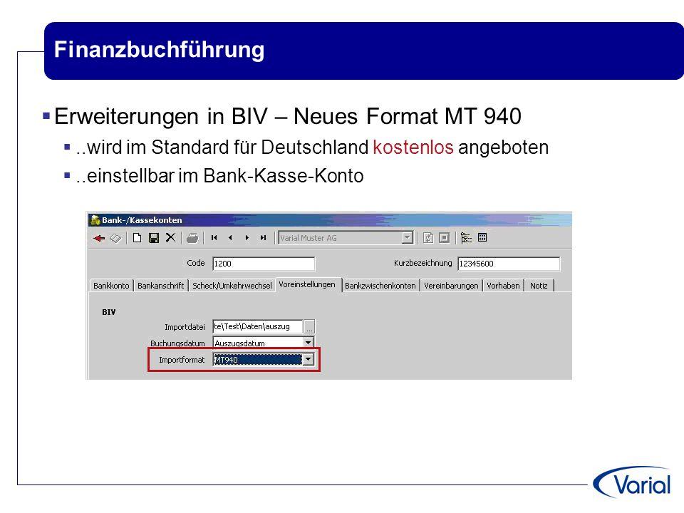 Erweiterungen in BIV – Neues Format MT 940